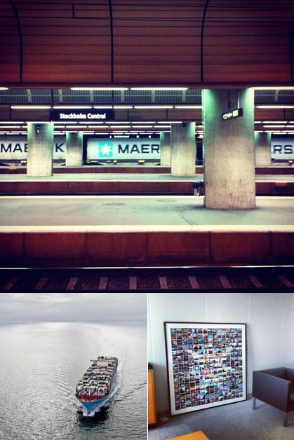 Top: Maersk containers spotted at Stockholm Central (shared by @mgnfq). Bottom left: Edith Maersk in Hong Kong (shared by @MaerskLine). Bottom right: #maersk mosaic in the CEO's office.