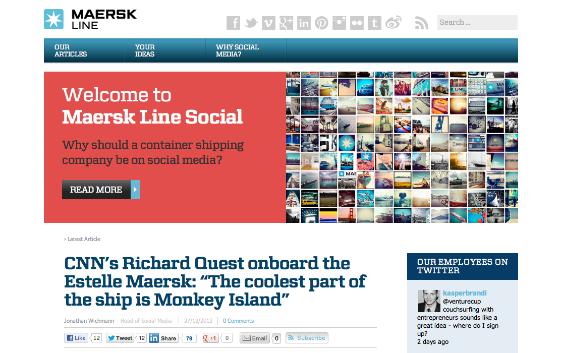The home page of Maersk Line Social, a website dedicated to telling stories about and for the social media. (http://maersklinesocial.com)