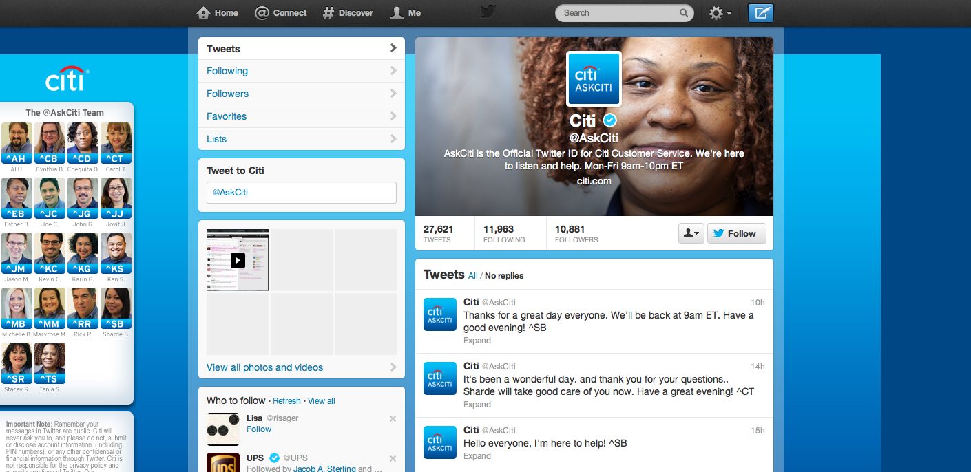 A screenshot of @AskCiti, Citibank's Customer Service handle on Twitter