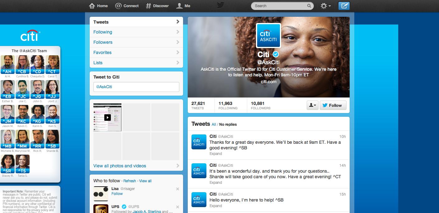 A screenshot of @AskCiti, Citibank's Customer Service handle on Twitter