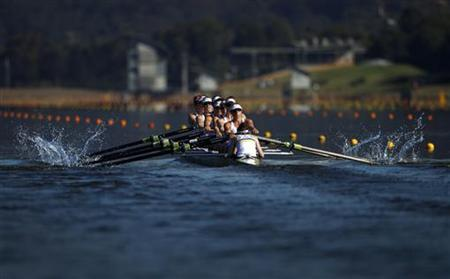 Australia's Olympic women's coxed eight races during a training session at the Sydney International Regatta Centre