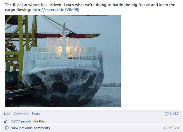 First #wintermaersk post on FB